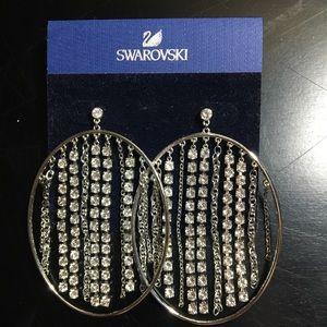 Swarovski dangle chains pierced earrings